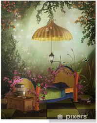poster schlafzimmer fantasie mit einem gelben sonnenschirm