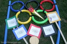 Backyard Olympic Games Javelin Throw Balance Beam Bean Bag Toss Water Bucket