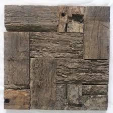 Ancient Ship Wood Tile Mosaic Pattern Rustic Style Wall Decor Kitchen Backsplash Living Room