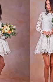 short ivory vintage style long sleeve lace wedding bridal dress