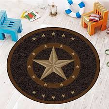 Picture Of Texas Western Star Rustic Cowboy Decor Brown Black Round Area Rug