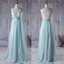 beaded straps and belt light blue chiffon long bridesmaid dress