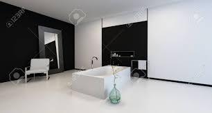 minimalist modernen schwarz weiß badezimmer interieur mit einem stuhl und einen großen spiegel an der wand in einem geräumigen ecke perspektive mit