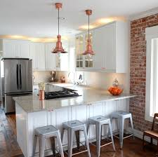 KitchenWhite Kitchen Interior With Country Exposed Brick Wall Decor Pendant Light Idea