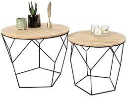 lifa living 2er set couchtische rund aus schwarzem metall und mdf holz 2 geometrische beistelltische im vintage stil mit korbfunktion bis zu 20 kg