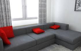 bilder 3d interieur wohnzimmer rot grau 7