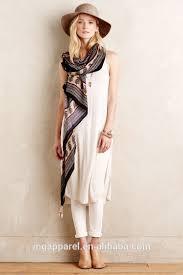 china cheap women linen tunic tops sleeveless long side slit linen