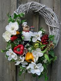Floral Wreath Kitchen Decor Italian Chef Cottage Chic Magnolias Fruits Vegetables