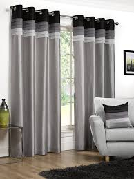 Faux Silk Eyelet Curtains by 46x72in 117x183cm Seattle Black Silver Faux Silk Eyelet Curtains