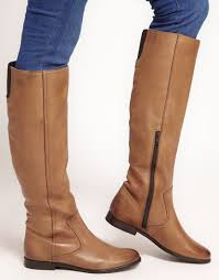 asos chief leather knee high boots in brown lyst