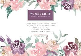 Wine Berry Burgundy Watercolor Flowers Clipart Bouquets Wreaths For Wedding Invitations Logo Use