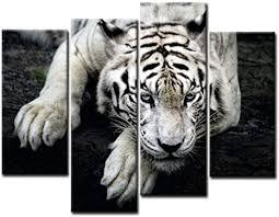 wall tiger bilder leinwand 4 teilig bild schwarz weiß tier wandbilder wohnzimmer moderne für schlafzimmer dekoration wohnung home deko