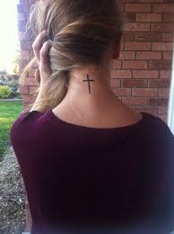 Nice Simple Cross Neck Tattoo