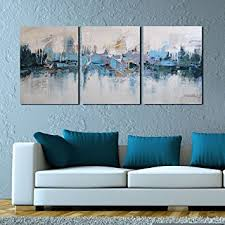ARTLAND Modern Framed Abstract Oil Painting QuotBlue Villagesquot 3 Piece Gallery