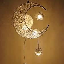 ourleeme pendelleuchte mond und sterne deckenleuchte fee licht anhänger hängende decke warmweiß für kinderzimmer wohnzimmer dekoration