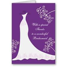 White dress swirls on purple Wedding Thank You Greeting Card
