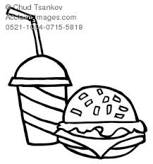black and white hamburger with soda clipart & stock photography