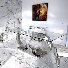 hg royal estates gmbh esstische edelstahl esszimmer tisch glastische glas hochglanz 200x90x75cm