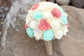 Wedding BouquetCoralMint Bridal Bouquet Sola Flower Bouquet