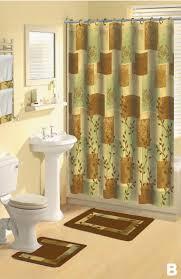 Sunflower Bath Towel Set by Shower Curtains 17 Pcs Set Contemporary Bath Mat Contour Rug Hooks
