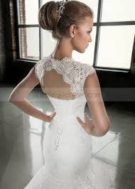 mermaid queen ann neckline keyhole back sweep train ivory lace