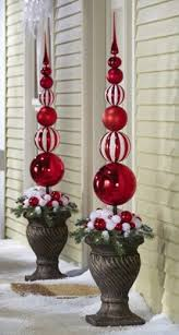 Red White Christmas Ornament Ball Finial Topiary Stake By Collections Etc