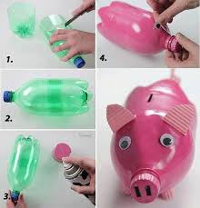 Turn Those Empty Bottles Into Something Useful And Decorative With These 17 DIY Crafts Using Recycled Plastic Bottle Piggy Bank