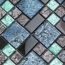 black stainless steel backsplash metal glass mosaic tile
