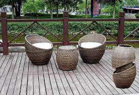 Unqiue Outdoor Wicker Chair White Seating Cushion Rattan Material