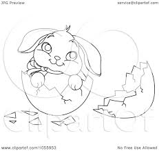 Royalty Free Vector Clip Art Illustration Of A Coloring Page Outline Cute Easter Bunny In Broken Egg Shell By Pushkin