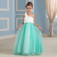 2016 New Design Turquoise Flower Girl Dresses With Handmade One Shoulder Girls For Weddings Custom Made In From