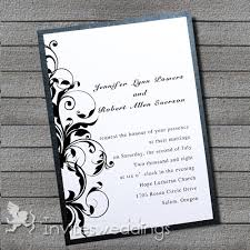 Modern Simple Black Swirls Layered Wedding Invites IWFC021
