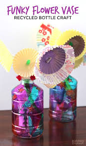 FUNKY FLOWER VASE PLASTIC BOTTLE CRAFT FOR KIDS