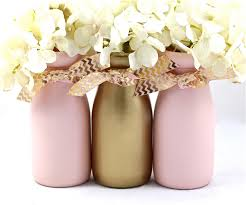 Pink White And Gold Birthday Decorations by Mason Jar Floral Centerpiece All Glittered Up With Pale Pink