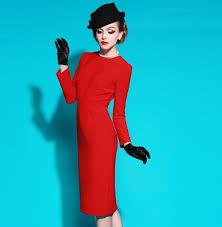 Women Sexy Red Long Sleeve Formal Work Wear Office Ladies Vintage Pencil Dress Big Plus Size