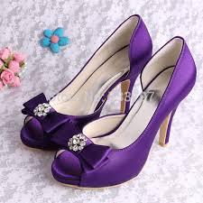 Wedopus High Heels Women Pumps Purple Wedding Shoes Prom Peep Toe