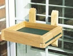 Platform Window Mounted Bird Feeder Wood Tray