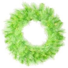 30 Pre Lit Lime Green Cashmere Artificial Christmas Wreath