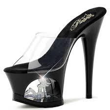 black slide sandal cutout heels with trucker in platform and
