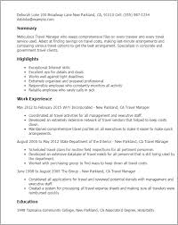 Resume Templates Travel Manager