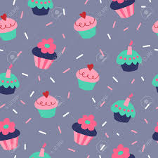 Cute Seamless Pattern With A Cupcakes On Gray Background Standard Bild