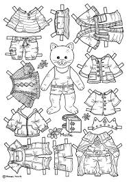 Cat Paper Doll Coloring Page