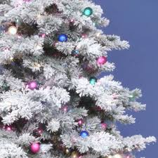 Flocked Alaskan 9 White Pine Artificial Unlit Christmas Tree With Stand