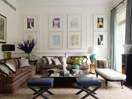 brown sofa living room living room transitional with blue gray