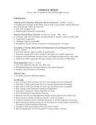 Daycare Resume Objective Child Care Science Teacher Info