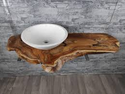 massiv waschtisch unterschrank waschbeckenplatte holzplatte teakholz baumscheibe 115cm waschtischplatte rbp1910