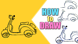 Teaching Children To Draw How A Scooter