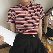 ItGirl Shop HEART HOLE STRIPES VINTAGE STYLE CROP TOP Aesthetic Apparel Tumblr Clothes Soft