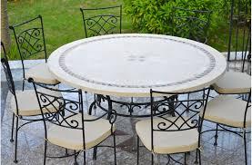 table ronde mosaique fer forge imhotep grande table ronde diamètre 160 125cm mosaïque