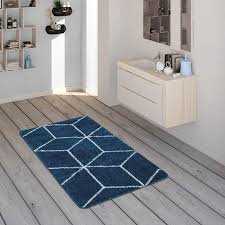 badematte mit rauten muster kurzflor teppich für badezimmer in blau weiß